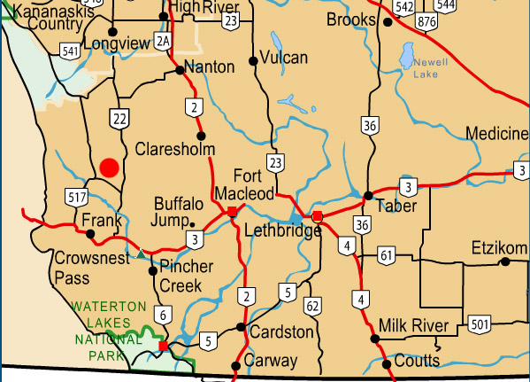 High River Alberta Canada Map.Bob Creek Wildland Whaleback Region Alberta Canada