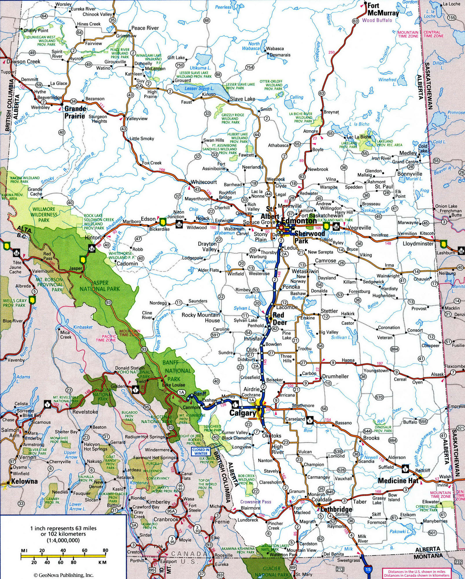 Detailed Road Map Of Alberta Canada Willmore Wilderness Park, Rocky Mountains, Alberta, Canada
